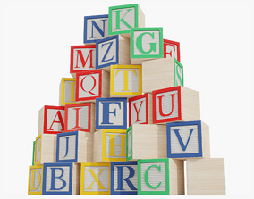 Wooden Alphabet Blocks 3D model