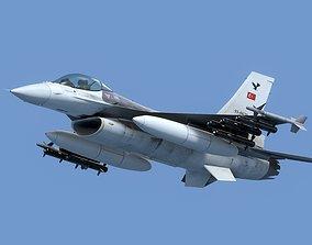 3D model animated F16C Turkey