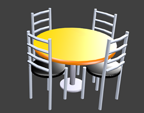 3D asset SEt table and chair