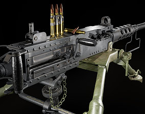 M2 Browning with tripod 3D model game-ready