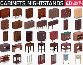 3D asset low-poly Cabinets and Nightstands Collection