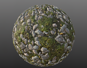 Small Mossy Stones Ground Material 3D