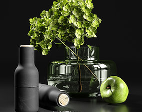 salt Decorative set with hydrangea 3D