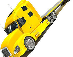 3D Yellow American Truck Flatbed