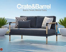 3D model Barra Teak and Metal Sofa from Crate and Barrel