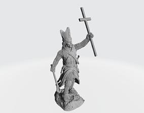 3D printable model Medieval bishop with large cross