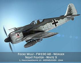 german Focke Wulf - FW190 A8 - White 9 3D