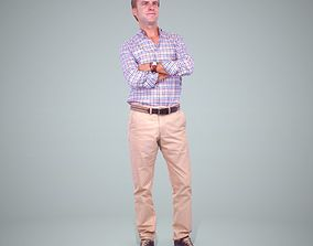 Standing Smiling Man Wearing Brown Pants 3D model 1