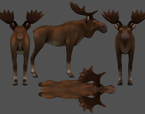 MoosE elk 3D model rigged