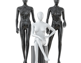 3D Three faceless female mannequins 24