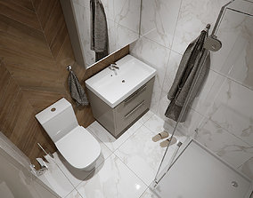 Toilet design with wood and marble 3D model