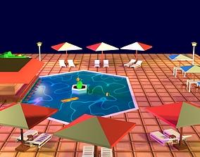 Cartoon Pool Low Poly 3D model