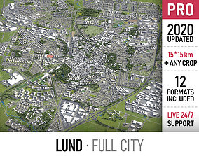 Lund - city and surroundings 3D asset