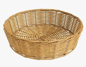 Wicker basket round medium brown 3D model