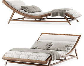 3D model Large wooden chaise lounge