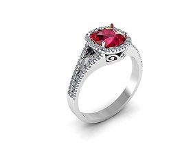 Cushion Cut Ruby Ring With Diamonds 3D printable model
