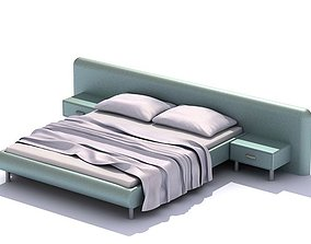 Modern Pastel Bed Set With Night Stands 3D model