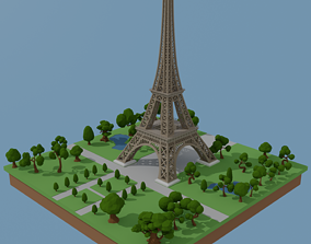 Eiffel Tower Low-poly 3D Model rigged