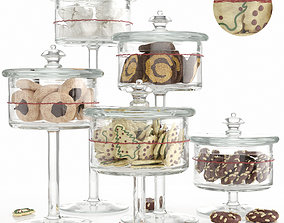 Cookies and sweets showcase pattern 3D model chocolate