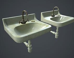 Retro Washbasin PBR Game Ready 3D model