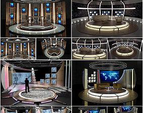 3D model Virtual TV Studio Chat Sets Collection 10