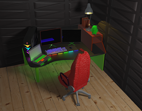 3D model animated workplace