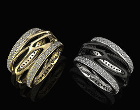 Parametric wedding Ring with diamond 3D print model