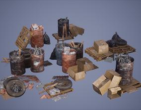 3D asset Debris Set Low Poly Game Ready