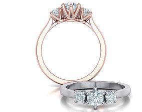 fashion-ring Three Stone Engagement ring printable 3dmodel