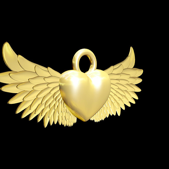 Winged Heart Pendant jewelry Gold 3D print model