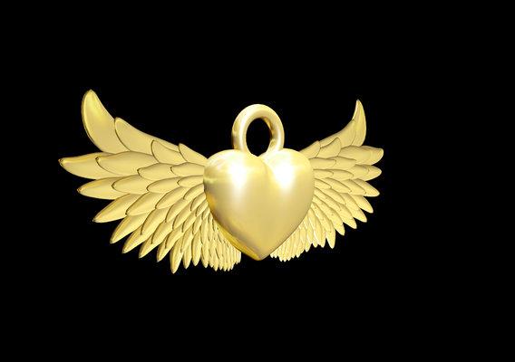 Winged Heart Pendant jewelry Gold 3D print model