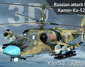 3D model Russian attack helicopter Ka-52 Hokum B animated
