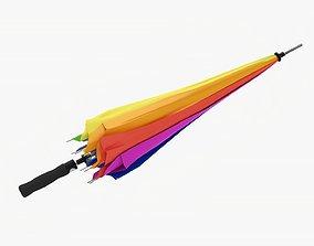 3D model Umbrella large automatic folded colorful