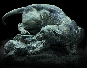 game-ready Wild Cat Statue 3D Model PBR