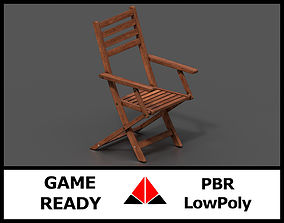 3D model VR / AR ready PBR Wooden chair