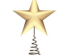 Gold Star Tree Topper 3D asset