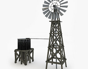 3D asset Old Farm Windmill