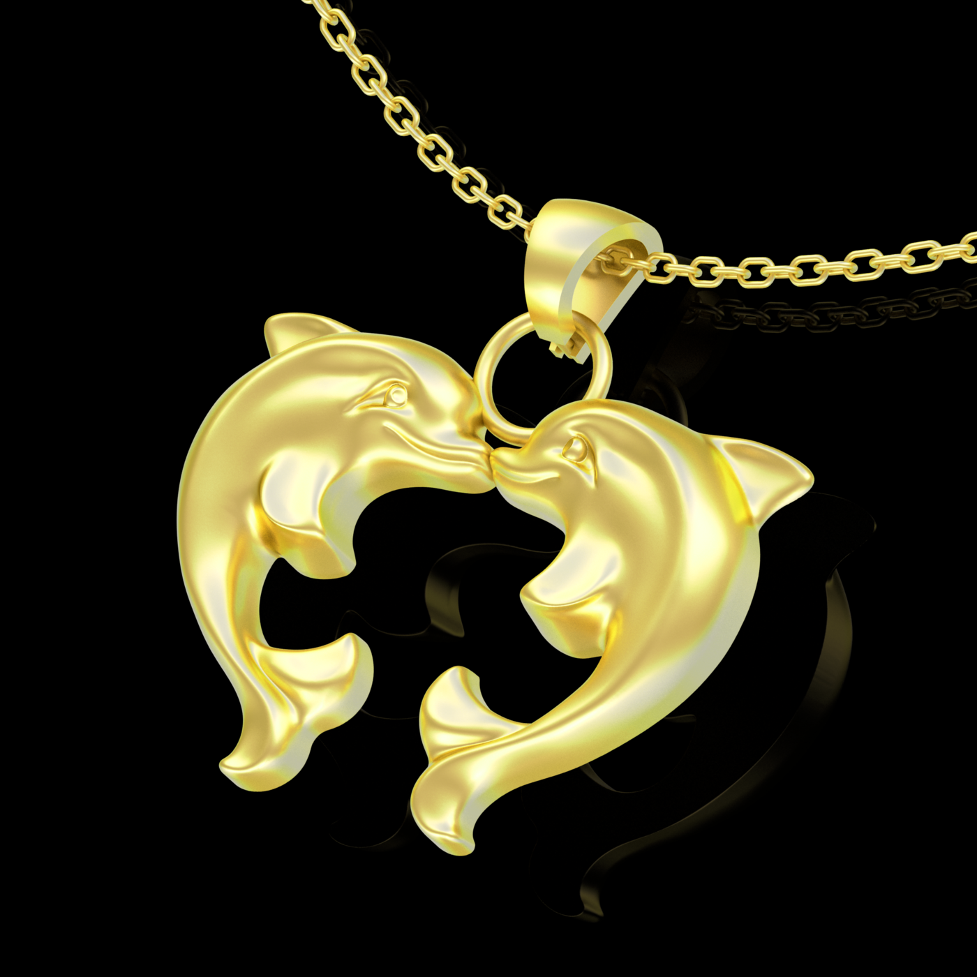 Two Heart-Shaped Dolphins Pendant jewelry Gold 3D print model