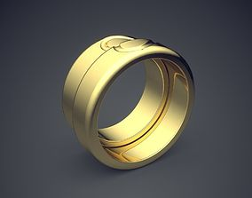 3D print model Unique Golden Double Ring With Carved Heart