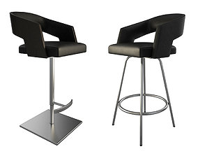 Jolly Leather Black Stools 3 3D