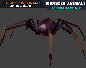3D asset Low Poly Spider Cartoon Monster Animated - Game