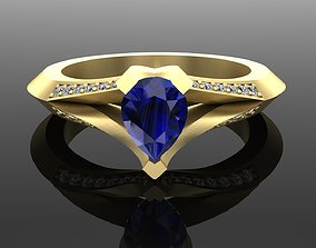 3D print model Classic ring with Pear Stone