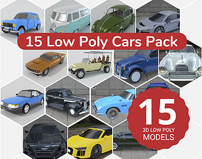 15 Cars Pack 3d lowpoly Collection