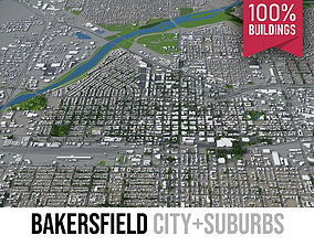 3D asset Bakersfield - city and surroundings