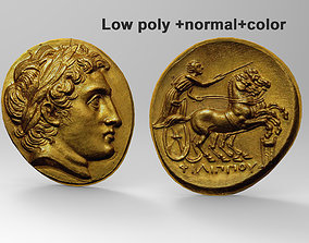 3D Ancient coin High poly Mid poly and Low poly