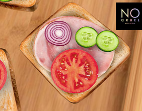 3D model Toast with ham and vegetables