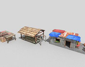 3D asset 3 low poly beach huts pack