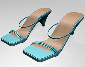 Square-Toe High-Heel Strappy Sandals 01 3D model