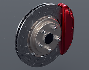 3D asset Brake Disc with caliper