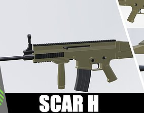 SCAR H low poly 3D model game-ready